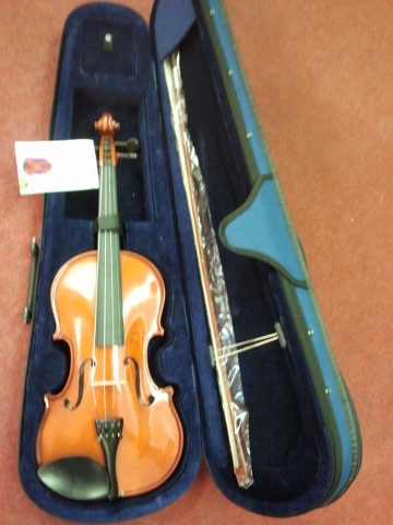 Violin with case.